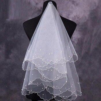 Women Pearl Bridal Veils Wedding Dress Veil Layers Tulle Pencil Edge Wedding Accessories 2019