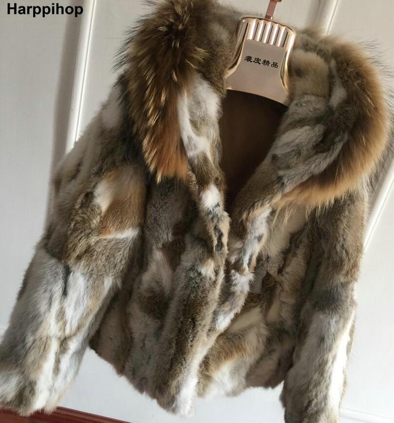 Harppihop* Genuine Rabbit Fur Coat with big hat natural rabbit fur jacket Women short Rabbit Fur coat with raccoon Free Shipping fur contrast color men s cotton coat with hat