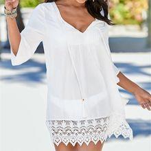 Beach Cover up Cotton Sarong Swim Pareos de Playa Mujer Beachwear Vestido Bikini Tunics