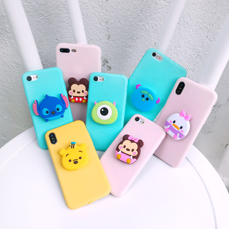 Stitch Minnie Ring Grip Soft Case For IPhone SE 6 7 8 Plus Xs XR MAX Cover For Samsung A8 J4 J6 J8 S8 S9 S10 Plus Note 8 9 10