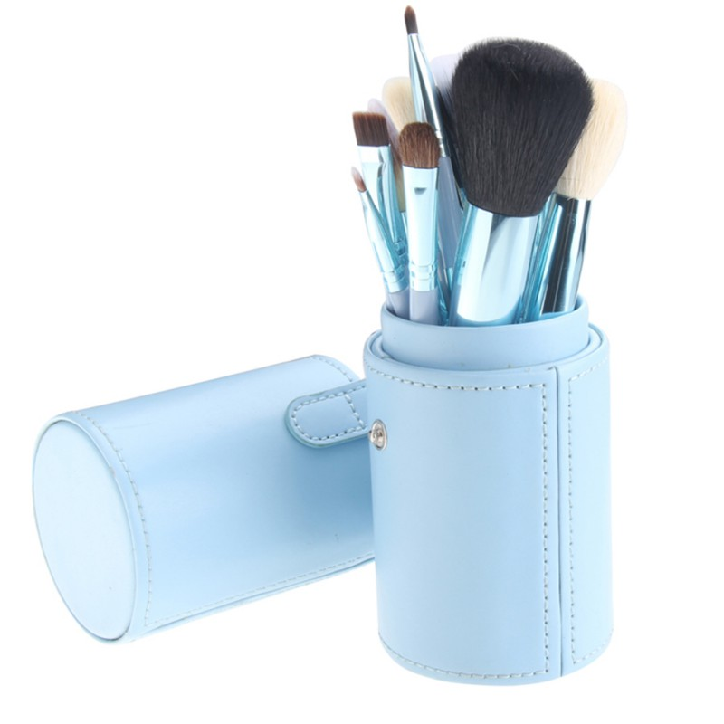 Portable Women Makeup Foundation Eyeshadow Eyeliner Lip Brushes Container Tube Brushes Set With Box