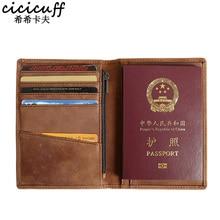 Handmade Passport Holder Wallet Genuine Leather Men Long Passport Cover Travel Leather Organizer Passport Case for Documents
