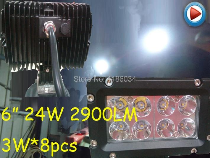 Фотография Free ship!5inch 24W 3W*8pcs, 10~30V LED working light,1pcs/set,Black color,2900LM,6500K,Boat,Bridge,Truck,Offroad car,Harvester