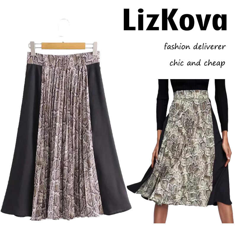 4cac2f3dd0c High Waist Snake Printing Spliced Pleated Skirt Female Autumn Zipper Skirt  Knee Length Falda Streetwear 2018
