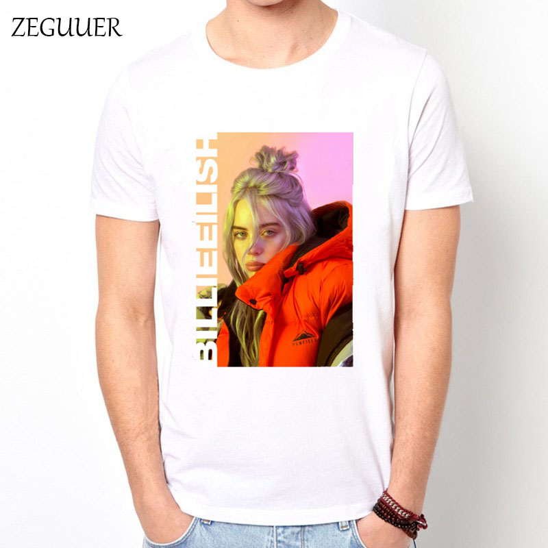 Billie Eilish T-shirt Short Sleeve Tshirt Harajuku Streetwear Print Fashion Wind Cotton Round Neck Men's T-shirt Casual Clothes