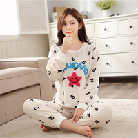 New Autumn/winter flannel Round Neck pajamas sets warm thickening long sleeve trousers sleepwear Indoor Clothing Home Suit