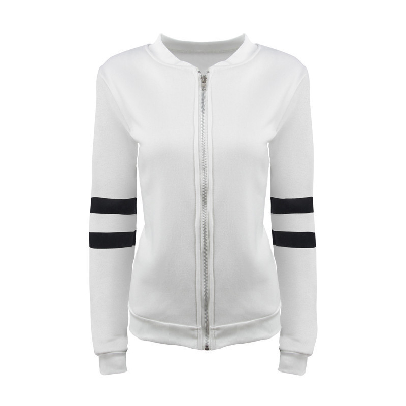 Nice Women Spring   Basic     Jacket   Long Sleeve Zipper Sportwear Coat Female Outerwear Casual Patchwork Chaquetas Vogue Top