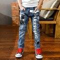Большие мальчики брюки весна 2017 НОВЫХ МАЛЬЧИКОВ джинсы буквы Джинсовые брюки 6 7 8 9 10 года