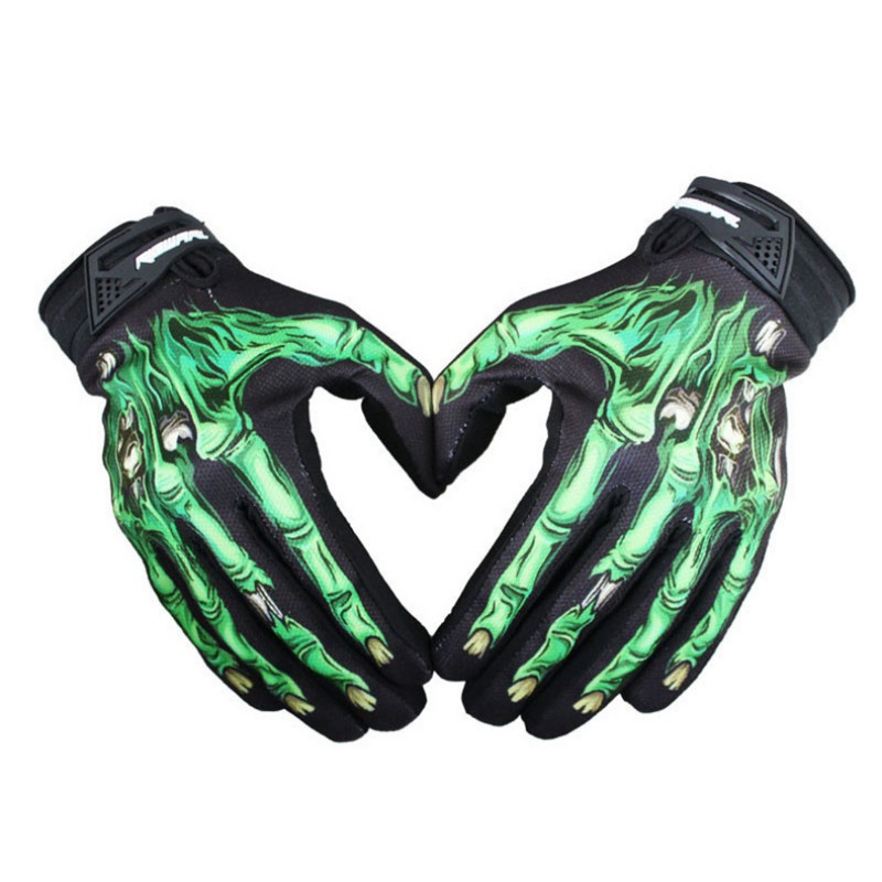 Mens Cycling Biker Racing Motorcycle Mitten Polyester Skeleton Goth Skull Bone Full Finger Sport Gloves Jeaz