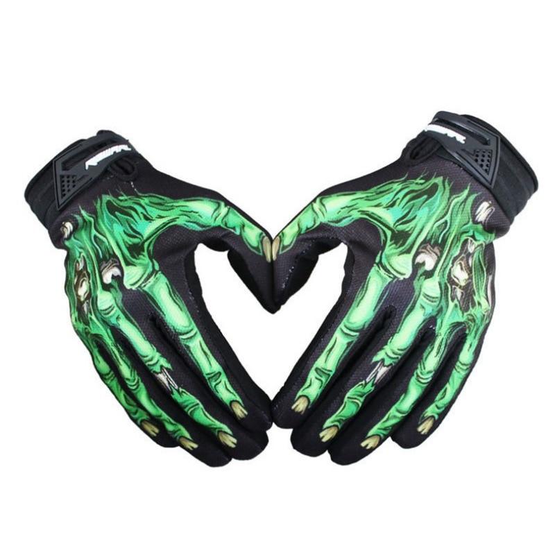 Mens Cycling Biker Racing Motorcycle Mitten Polyester Skeleton Goth Skull Bone Full Finger Sport Gloves Jeaz