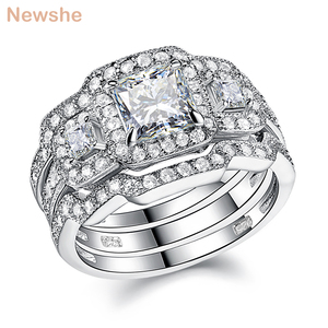 Image 1 - Newshe 3 Pcs Wedding Ring Set Classic Jewelry 925 Sterling Silver Princess Cut AAA CZ Engagement Rings For Women Size 5 12