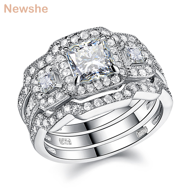 Newshe 3 Pcs Wedding Ring Set Classic Jewelry 925 Sterling Silver Princess Cut AAA CZ Engagement Rings For Women Size 5 12