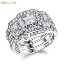 Newshe 3 Pcs Wedding Ring Set Klassieke Sieraden 925 Sterling Zilver Princess Cut Aaa Cz Engagement Rings Voor Vrouwen Maat 5 12