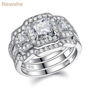 Image 1 - Newshe 3 Pcs Wedding Ring Set Klassieke Sieraden 925 Sterling Zilver Princess Cut Aaa Cz Engagement Rings Voor Vrouwen Maat 5 12