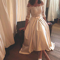 2017 vintage Wedding Dresses Off Shoulder Half Sleeve Lace Applique Bridal Gowns Pockets Plus Size Satin A Line vestido de noiva