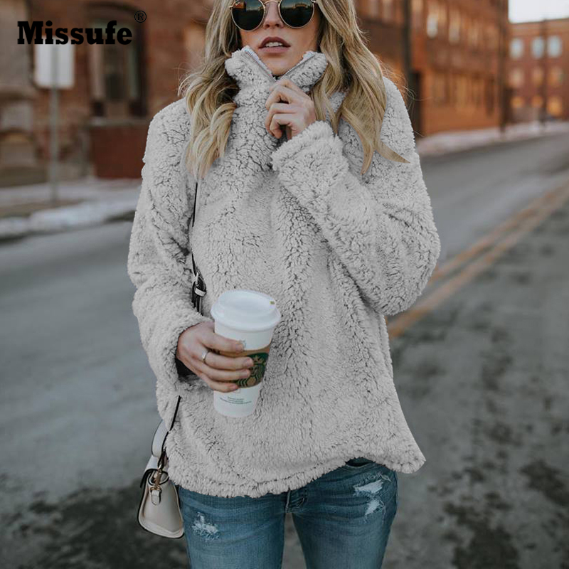 Missufe 2018 Autumn Winter Stand Collar Sweatshirt Long Sleeve Warm Soft Hoodies Pullovers Loose Plush Soft Hooded Women