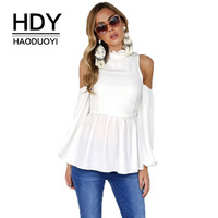 HDY Haoduoyi Women T Shirt 2018 New Autumn Solid White Ladies Tops Female Off Shoulder Tshirt