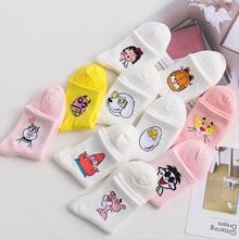 Women Cartoon Character Cotton Socks Art Female Patterend Short Cute Hipster Fashion Animal Print Ankle