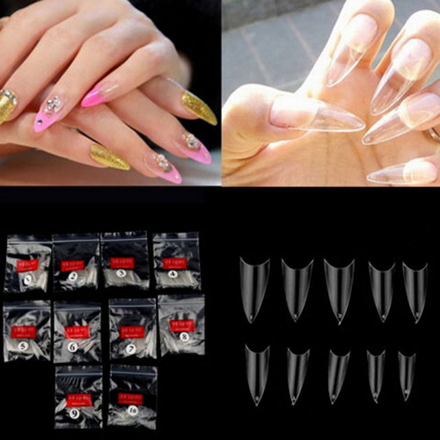 New Fake Nail Tips Completely Curved 500pcs Transpa Full Cover French False Nails Artificial Free
