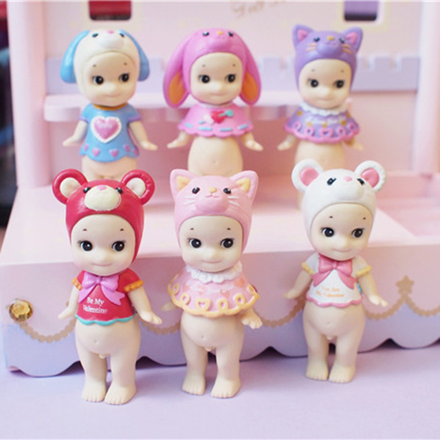 Cute Kewpie Doll Valentines Day Limited Edition Sonny Angel Animal Action Figure Toys Fox Dog Mouse 1 PCS Boneca Lol Original