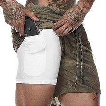 Мужские шорты для бега мужские спортивные шорты 2 в 1 быстросохнущие тренировочные шорты для бега, велосипедные шорты со встроенным карманом