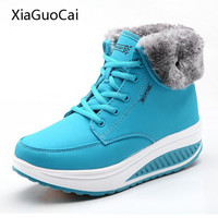 Women Fashion Winter Boots With Fur High Top Platform Ankle Boots Blue Casual Wedges Swing Shoes