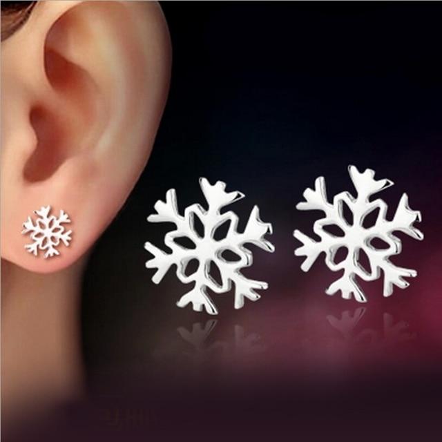 Hot 925 Pure Silver Snowflake Stud earrings Winter Korean version Classic Love Girlfriend Birthday Christmas, New Year gifts