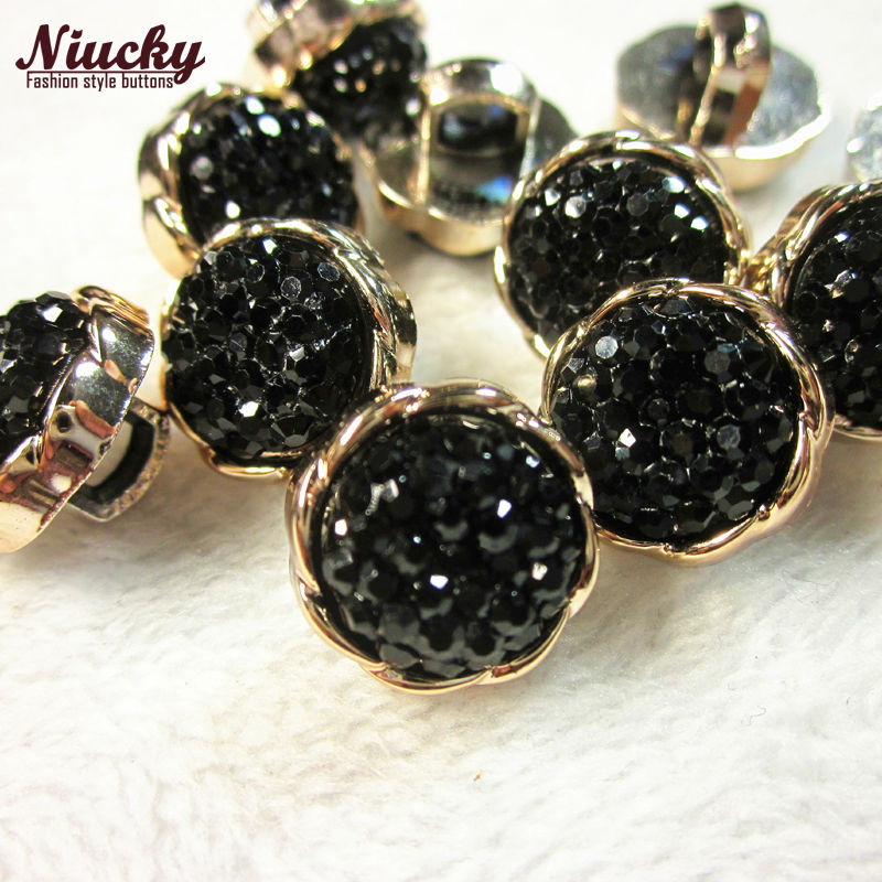 48pcs 12.5mm 20L  12 Rose gold black rhinestone sewing buttons for Spring  Summer Lady shirt sweater dress sewing materials