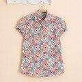 Floral Vintage Women Blouses Short Sleeve Female Shirt Women Cotton Turn-Down Collar Blusas Femininas Fruit Animal Women Tops
