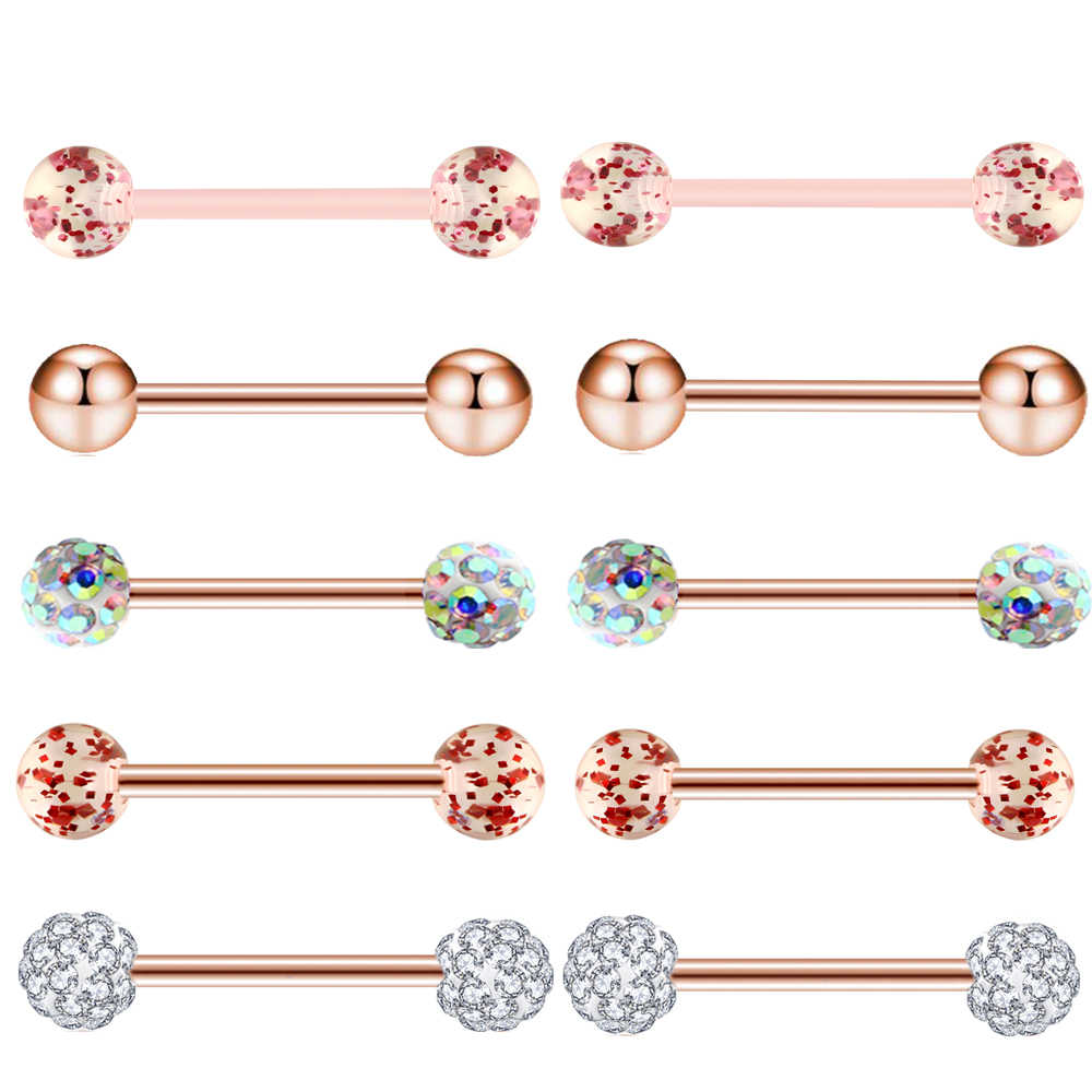 TIANCIFBYJS 1-10 piezas oro rosa 14G acero lengua Barbel pezón anillos para mujeres Tragus pendiente cartílago Stud joyería Piercing del cuerpo