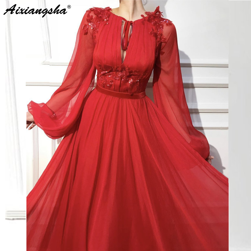 Red Muslim   Evening     Dresses   2018 A-line Long Sleeves Chiffon Lace Islamic Dubai Kaftan Saudi Arabic Long   Evening   Gown Prom   Dress