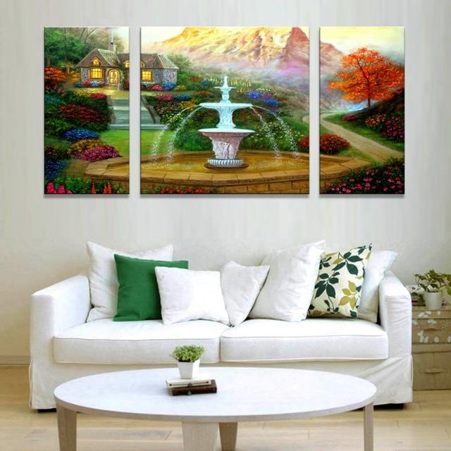 Pintura de la lona del paisaje en hermosas maderas enmarcado lienzo ...