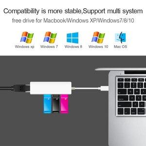 Image 3 - Adaptador USB a Ethernet, 3 puertos, Hub USB 2,0, Ethernet, RJ45, Lan, tarjeta de red cableada para tarjetas de red de PC Android, RTL8152, 10/100Mbps