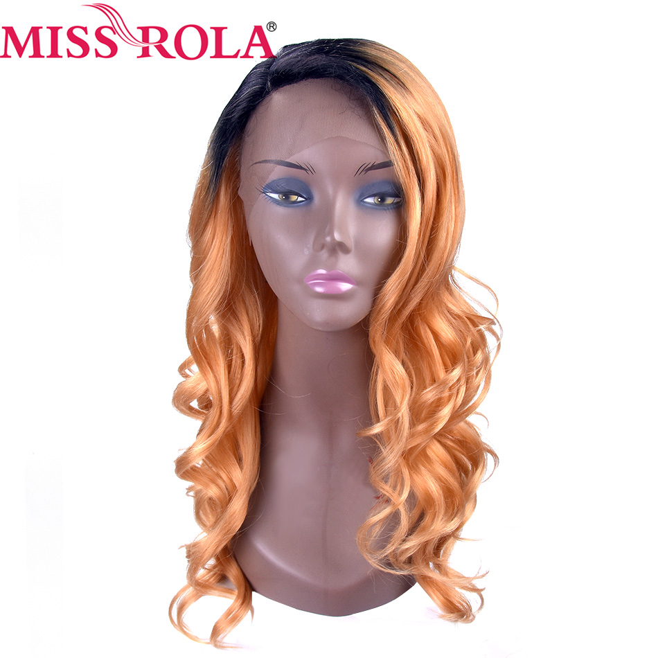 Miss Rola Synthetic Curly Wigs T144B Ombre Color  Wigs Heat Resistant 18inch Wigs For Women High Temperature   Fiber
