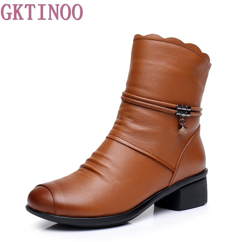 GKTINOO Autumn Winter Ankle Women Boots Genuine Leather High Heels Shoes Comforable Shoes Footwear Women Boot Plus Size 42 43 women pointed toe real genuine leather high heel ankle boots autumn winter wedding boot heels footwear shoes r7976 size 34 39