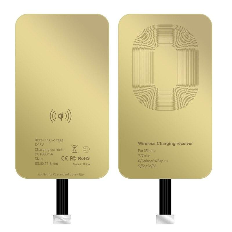 QI Carregador Sem Fio Receiver Para o iphone 5S 7 7 Plus 6 6 Plus Receptor de Carregamento Sem Fio Universal para Micro USB -tipo c Telefone