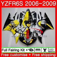 Body For YAMAHA YZF R6 S YZF R6S 06 09 Bodywork 61MC.15 YZFR6S Yellow black 06 07 08 09 YZF R6S 2006 2007 2008 2009 Fairings kit