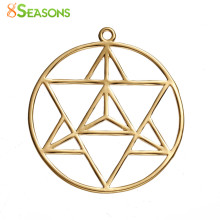 "8SEASONS Copper Merkaba Meditation Pendants Round gold-color Hollow 39mm(1 4/8"") x 36mm(1 3/8""), 1 Piece(China)"