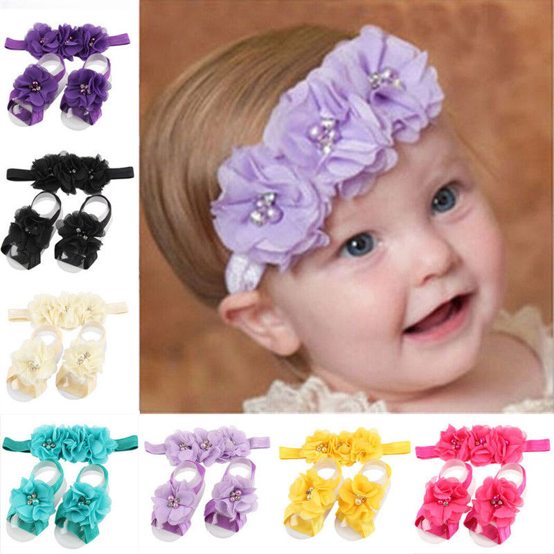 Fashion Chiffon Flower Hair Band Headband Elastic for Baby Girl Infant Toddler