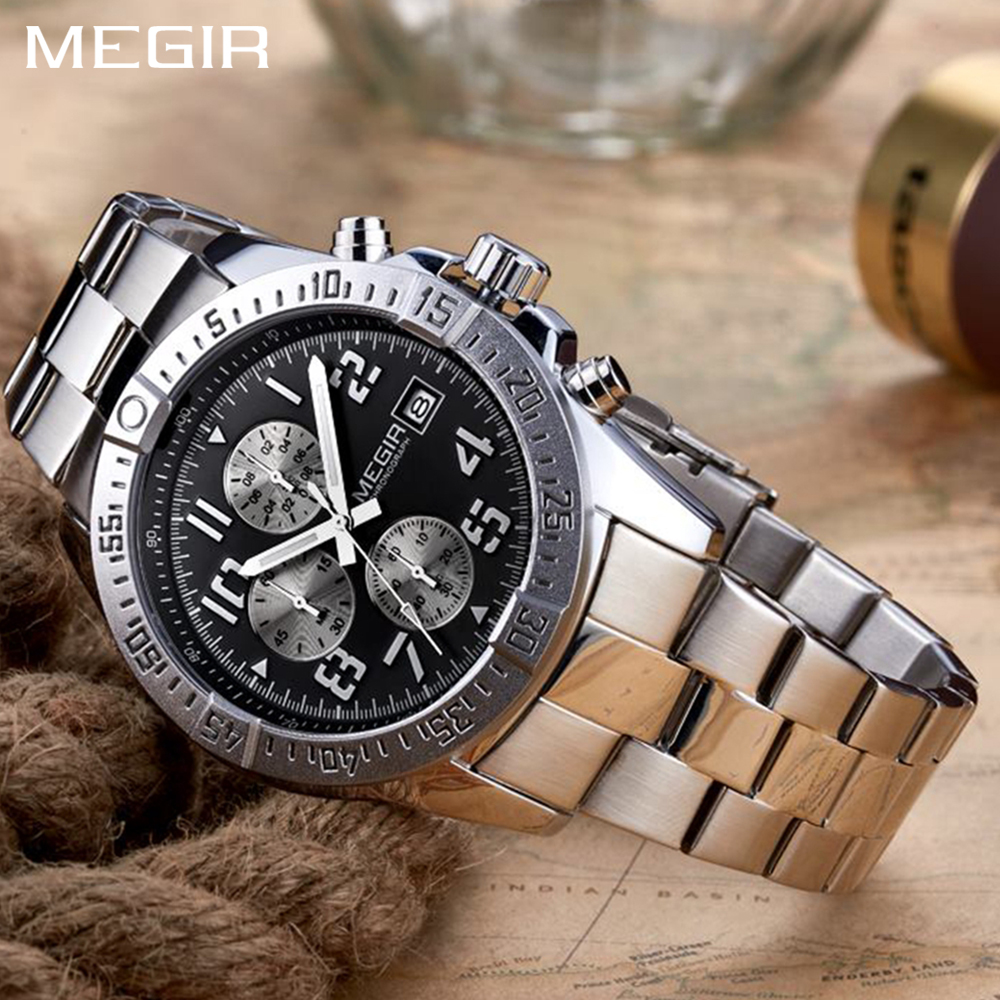 MEGIR Chronograph Watches Mens Top Brand Luxury Quartz Watch Stainless Steel Band Clock Fashion Business Sport Wrist Watch angela bos chronograph stop watch top brand luxury sport quartz watch stainless steel mens watches fashion business men clock