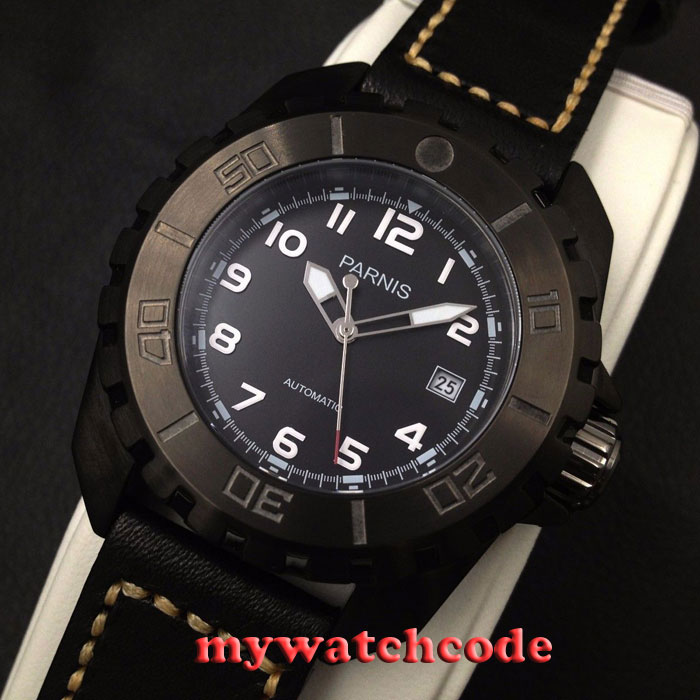 45mm parnis black dial PVD 21 Jewels miyota automatic movement mens watch P424 japan miyota 40mm pvd case parnis men s watch