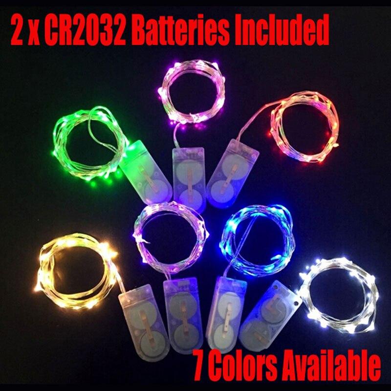 Livraison gratuite 50 pièces CR2032 à piles 2 m 20 lumières Micro LED lumière de chaîne pour noël noël fête de mariage décoration