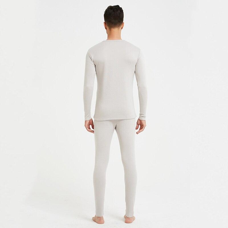 100% di seta peluche caldo set di biancheria intima di spessore lungo resistente al freddo degli uomini rotondi del collare abbigliamento invernale e pantaloni LVFAN ZC0002 - 3