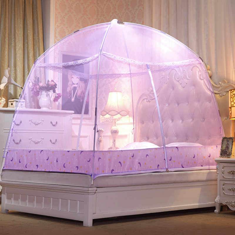 New Romantic Purple Dome Mosquito Net Double Door Polyester Fabric Bed Netting Canopy Mosquito Netting Folding Netting Tent Bed