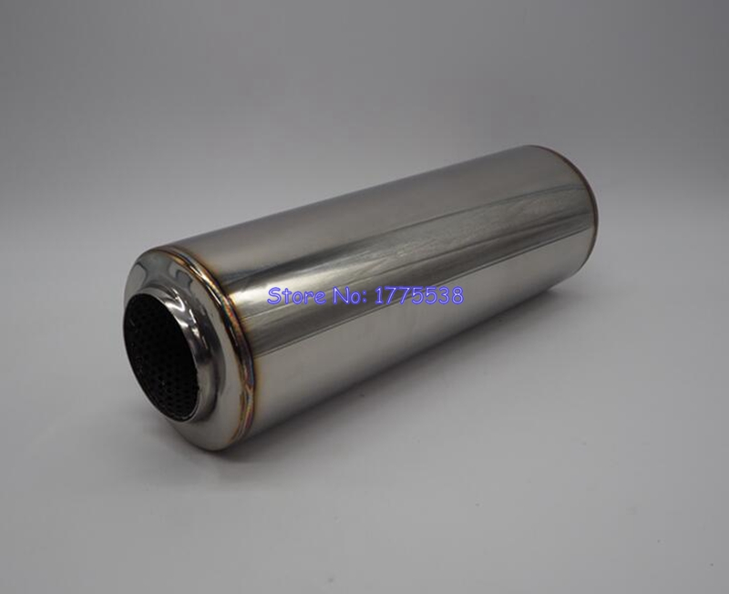 Universal ID:51mm(2)/63mm(2.5) L:300mm/450mm Stainless Steel Car Exhaust Tip Muffler Pipe Connect Link Pipe Spiral Drum Pipe