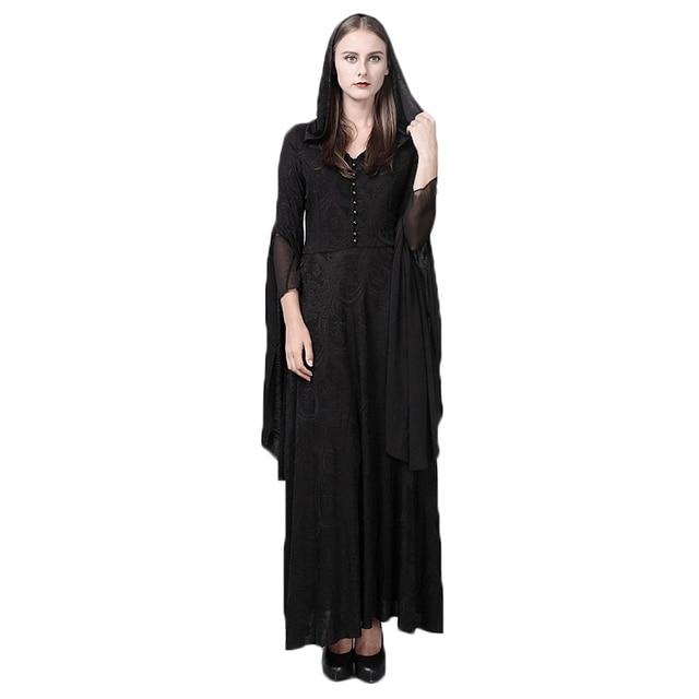b1773d43e91 Стимпанк готический для женщин с капюшоном кружево вязаное платье Винтаж  средневековой ведьмы плащ платье Полный Flare