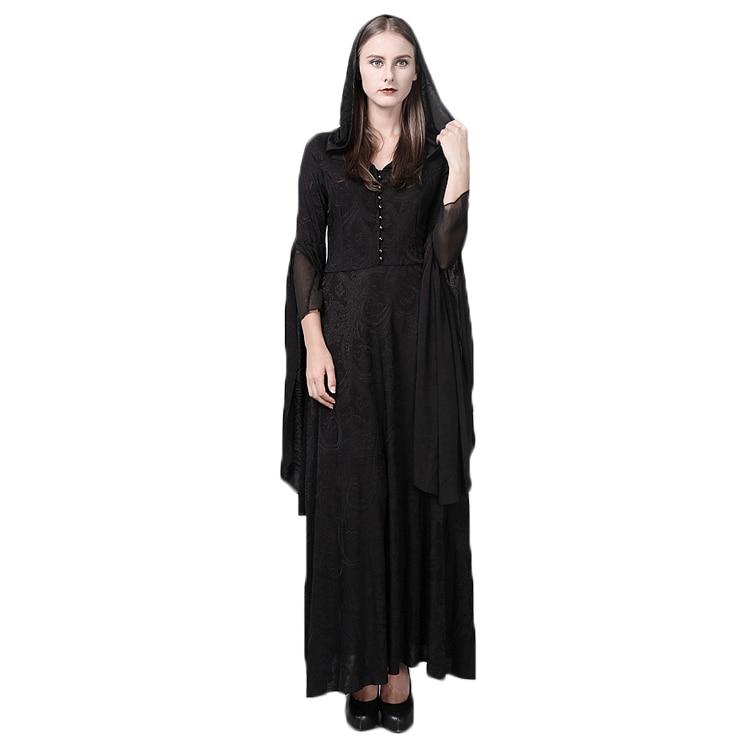 Steampunk Gothic Delle Donne Con Cappuccio In Pizzo di Lana Vestito Vintage Medievale Strega Mantello Abiti Manicotto Pieno Chiarore Costume di Halloween del Vestito