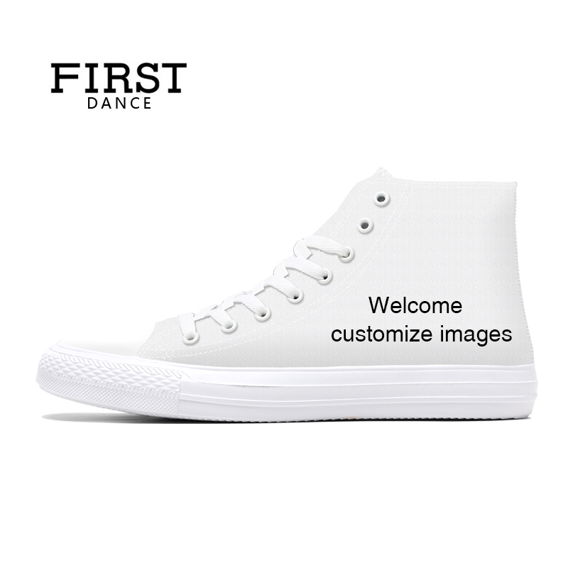 FIRST DANCE Shoes for Unisex High Top Canvas Shoes Casual Custom Printed Shoes Youth Solid Color