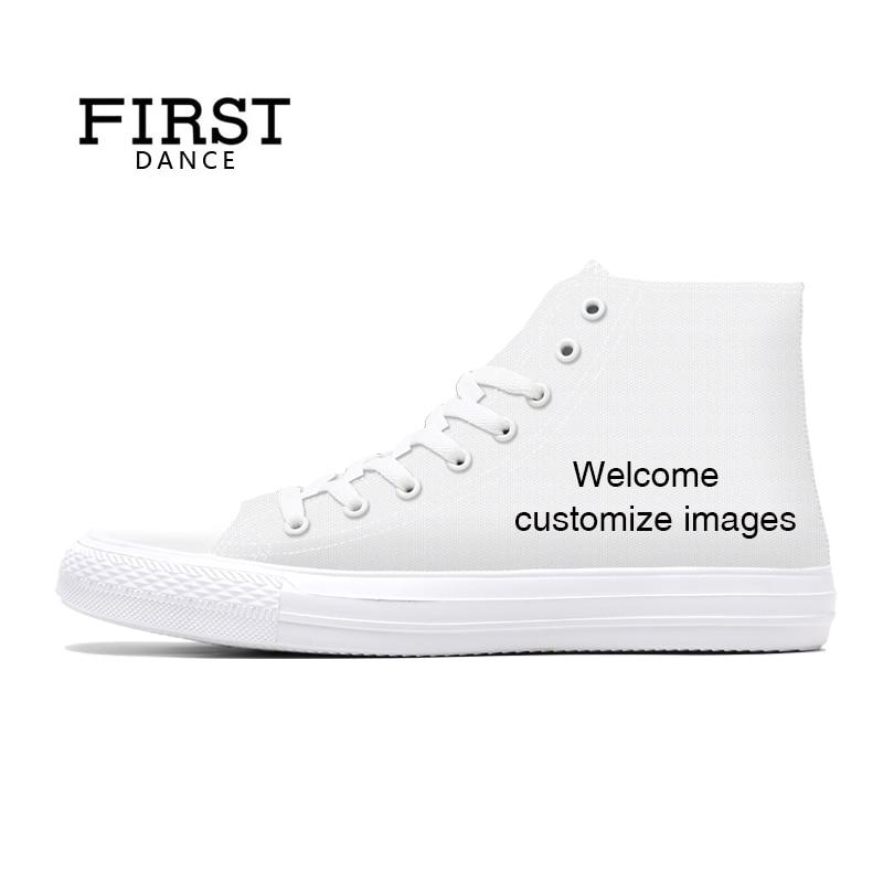 Первая танцевальная обувь унисекс, высокая парусиновая обувь, повседневная обувь с принтом на заказ, Молодежная однотонная обувь, Прямая по...