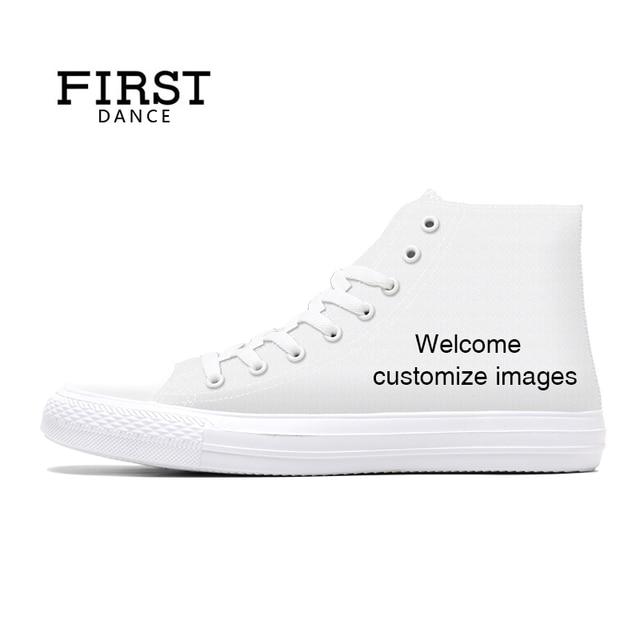 Первая танцевальная обувь унисекс; парусиновая обувь с высоким берцем; повседневная обувь с принтом на заказ; Молодежная однотонная обувь; Прямая поставка; Белая обувь